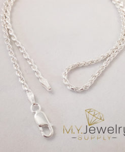 Sterling Silver 1.4mm Diamond Cut Rope Style Chain