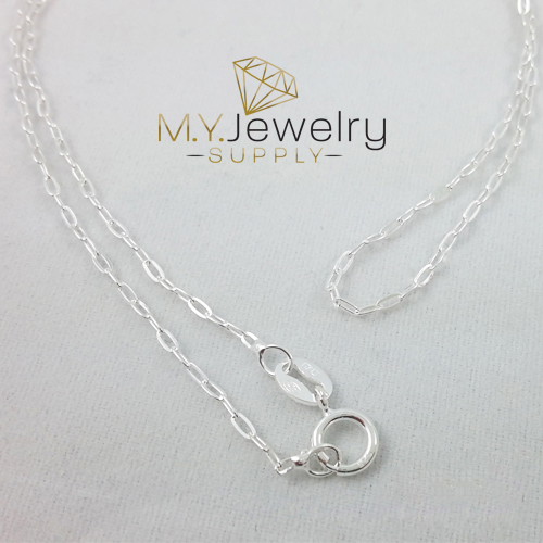 All Sizes Silver Cable Necklace Chain 925 Sterling Silver Flat Diamond Cable Chain Necklace