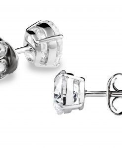 3aead1885 Swarovski Zirconia Round Stud Earrings set in White Gold Rhodium Plated 925  Sterling Silver – M.Y. Jewelry Supply